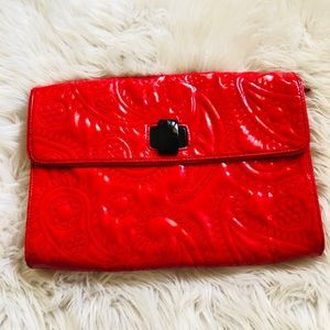 kate spade red Calabasas Patent Leather Clutch